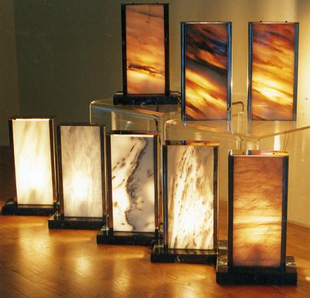 Lamps and lighting projects of various translucent marbles.